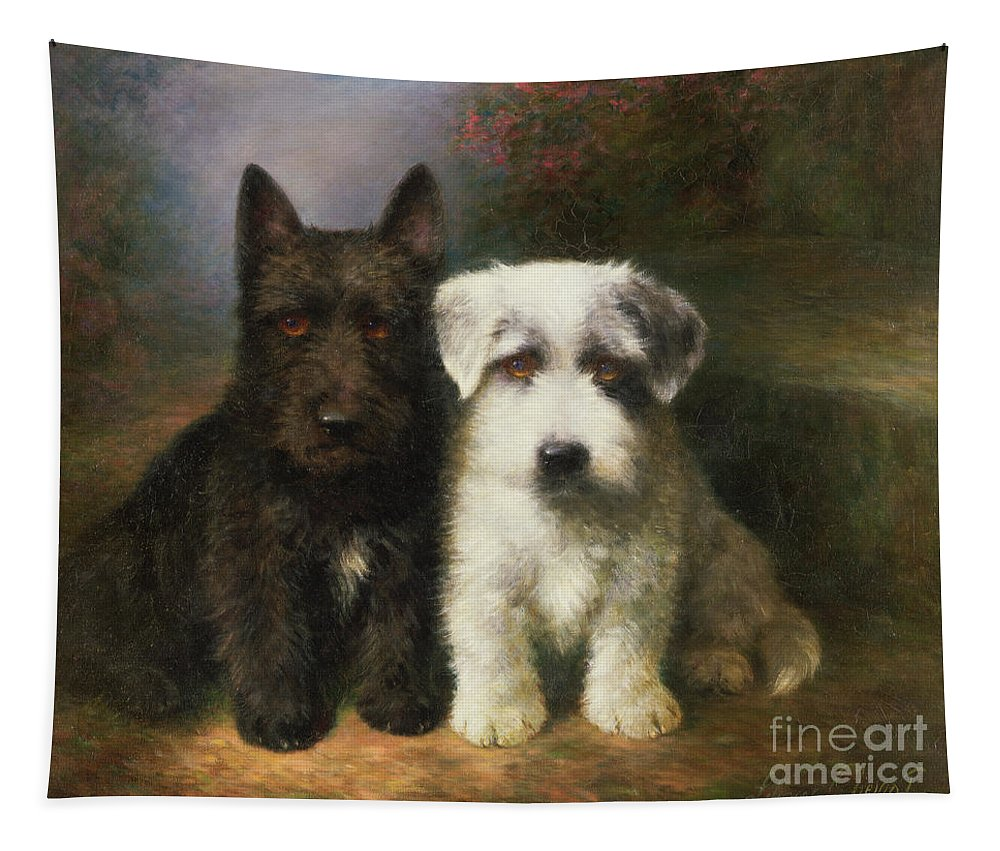 Dogs Tapestry featuring the painting A Scottish And A Sealyham Terrier by Lilian Cheviot