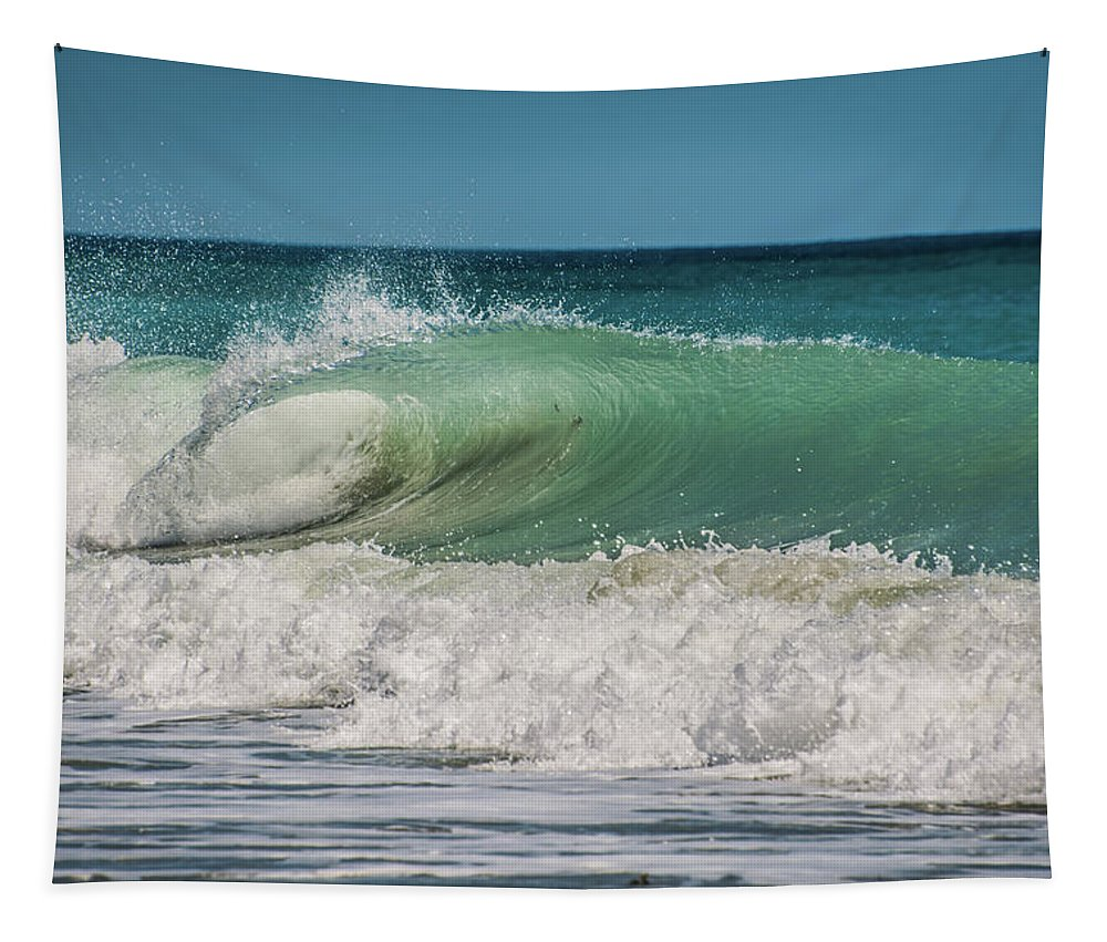 Plunging Breaker Tapestry featuring the photograph A Small Tube Wave In Atlantic Ocean by Zina Stromberg