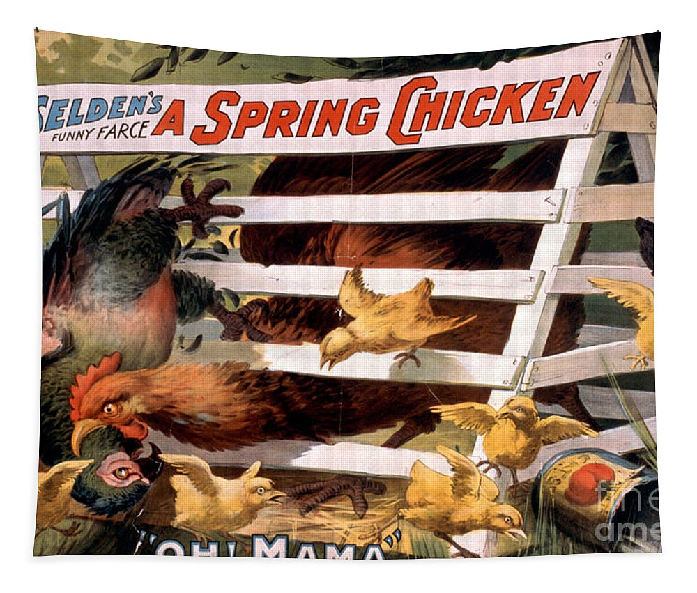 Chicken Tapestry featuring the painting A Spring Chicken Farm Decor by Edward Fielding