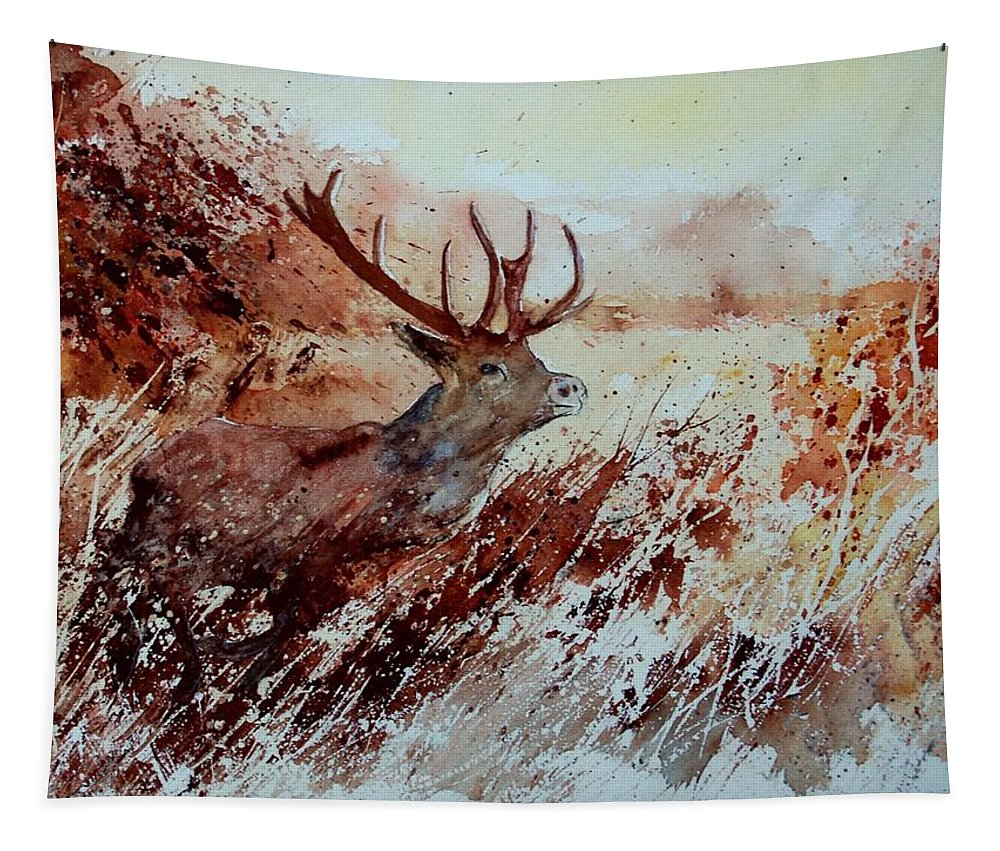 Animal Tapestry featuring the painting A Stag by Pol Ledent