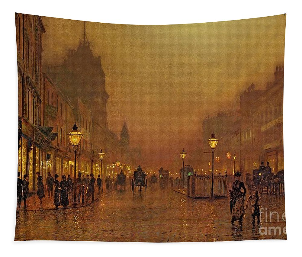 A Street At Night (oil On Panel) By John Atkinson Grimshaw (1836-93) Tapestry featuring the painting A Street At Night by John Atkinson Grimshaw
