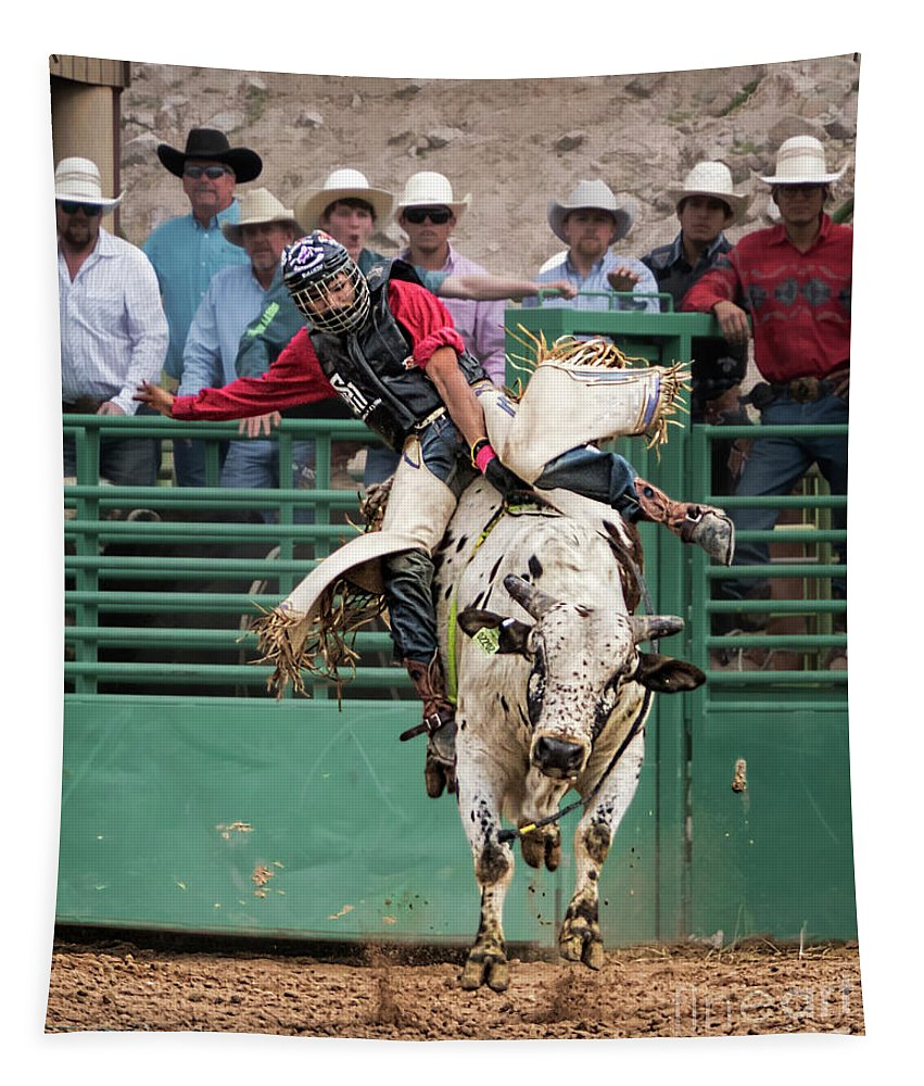 A Strong Bull Ride Tapestry featuring the photograph A Strong Bull Ride by Priscilla Burgers