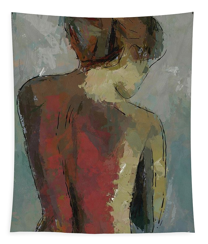 Nude Tapestry featuring the painting A Study Of A Standing Nude by Dragica Micki Fortuna