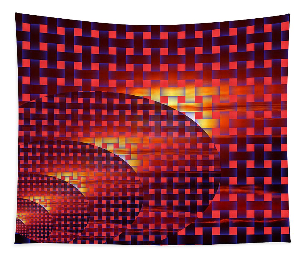 Digital Art Tapestry featuring the photograph A Sunset In Weave by Jeff Swan
