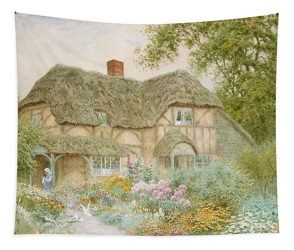 A Surrey Cottage (w/c) By Arthur Claude Strachan (1865-1935) Tapestry featuring the painting A Surrey Cottage by Arthur Claude Strachan