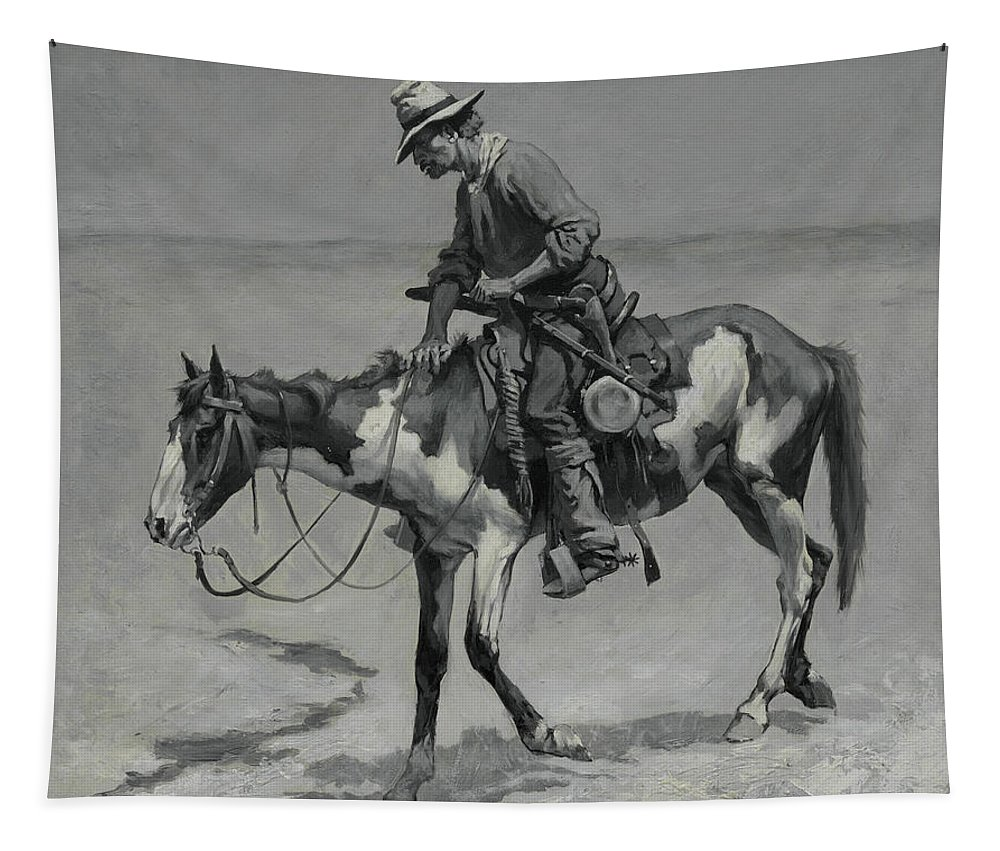 Art Tapestry featuring the painting A Texas Pony by Frederic Remington
