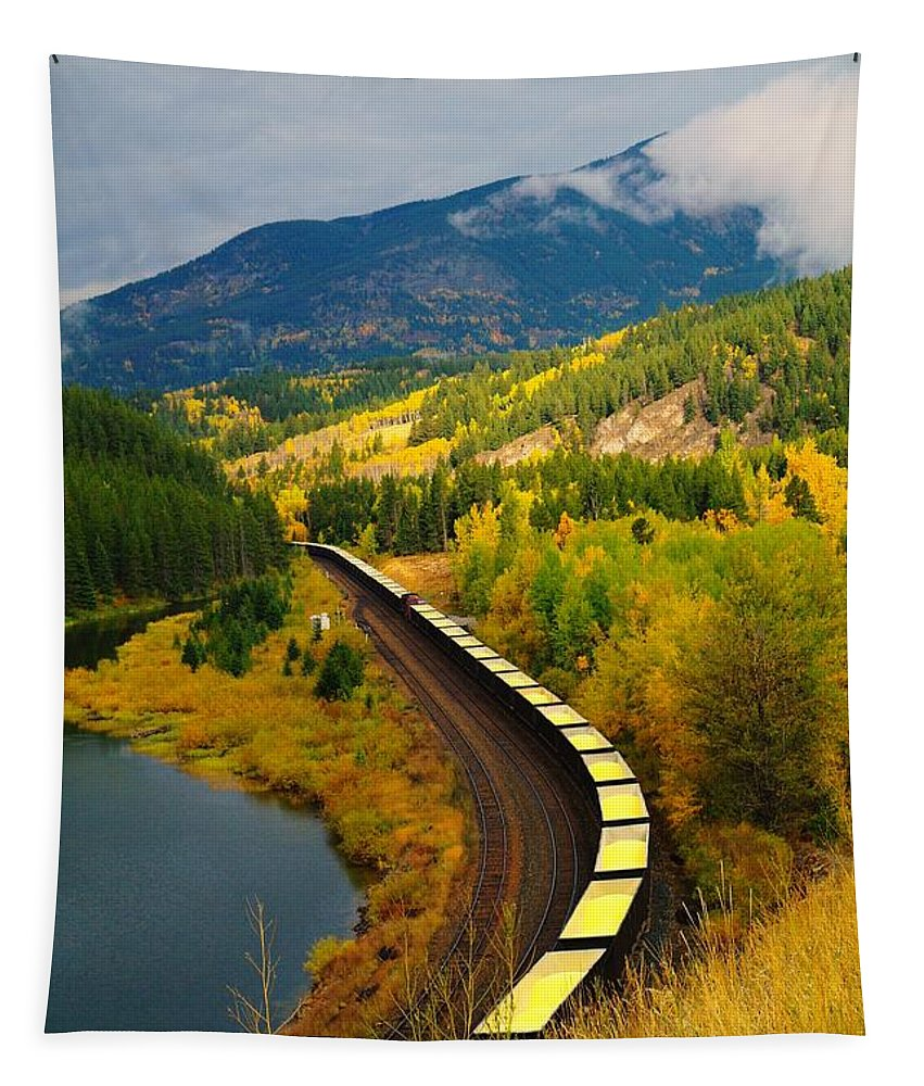 Trains Tapestry featuring the photograph A Train Of Golden Grain by Jeff Swan