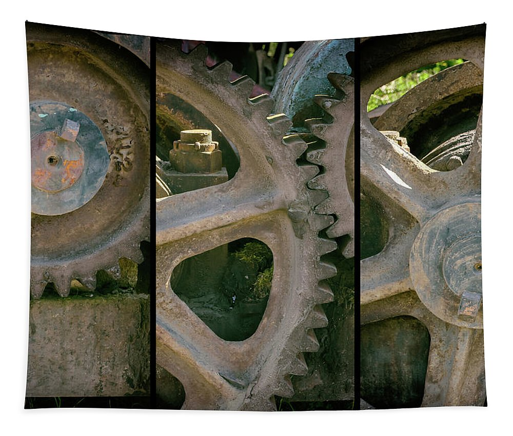 A Triptych Of Old Gears Tapestry featuring the photograph A Triptych Of Old Gears by Tikvah's Hope