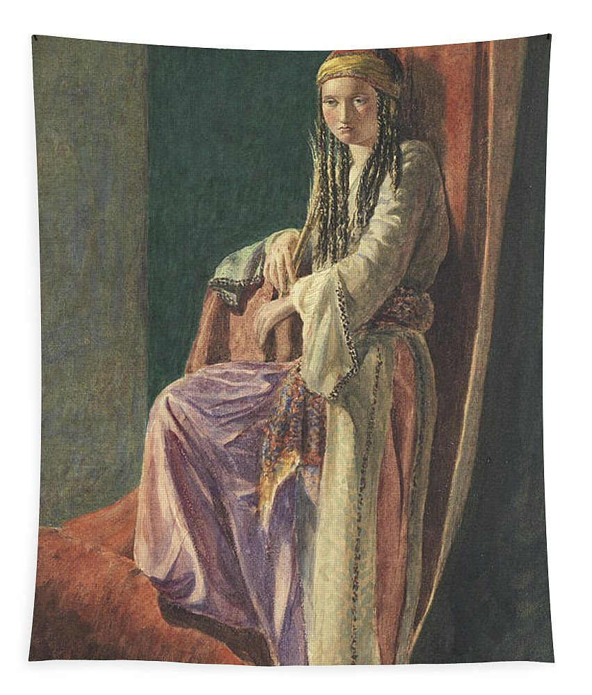 Turkish Tapestry featuring the painting A Turkish Girl by George Price Boyce