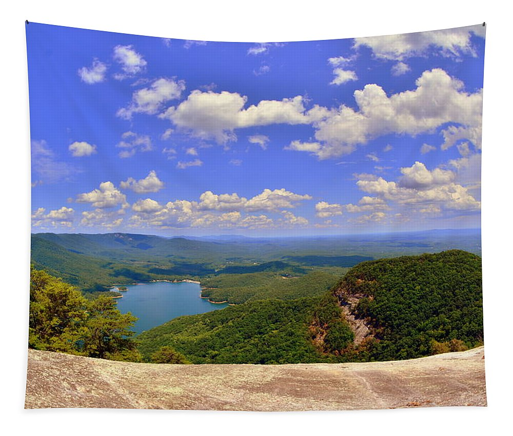 A View From Table Rock South Carolina Tapestry featuring the photograph A View From Table Rock South Carolina by Lisa Wooten