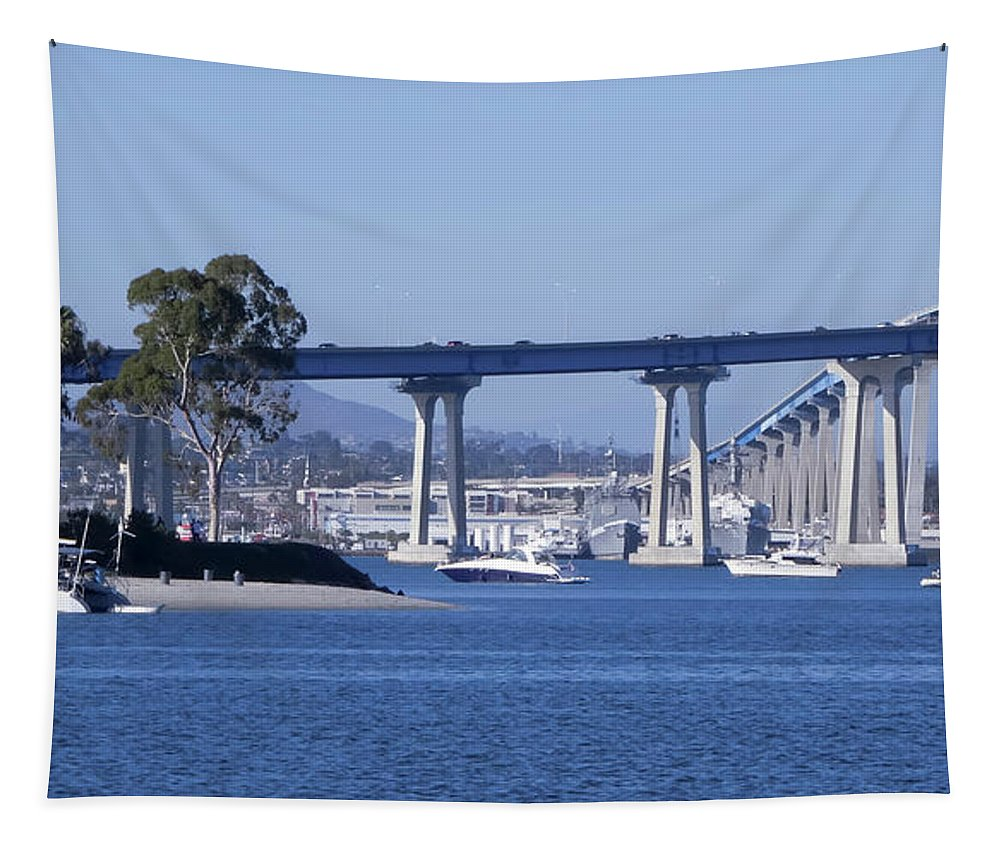 Coronado Tapestry featuring the photograph A View Of The South End Of The San Diego-coronado Bridge by Derrick Neill