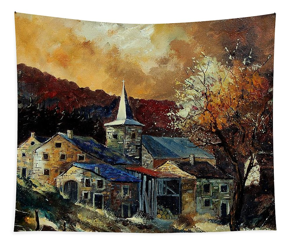 Tree Tapestry featuring the painting A Village In Autumn by Pol Ledent