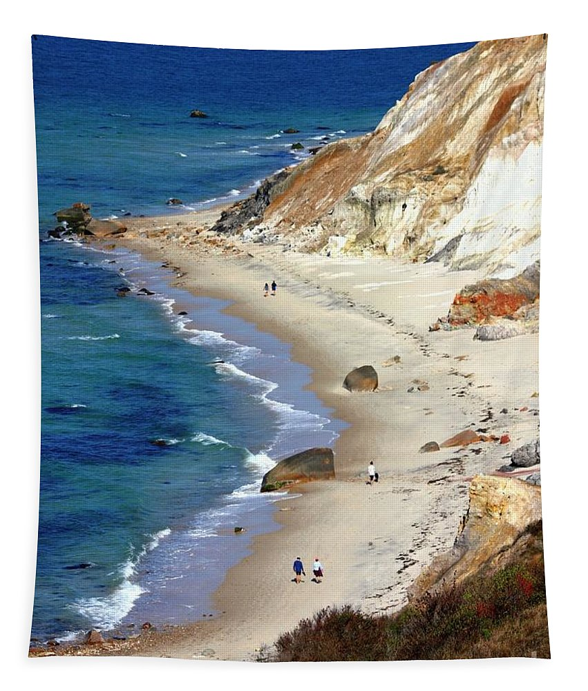 Massachusetts Tapestry featuring the photograph A Walk Along Aquinnah Beach by Carol Groenen