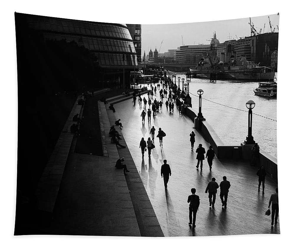 London Tapestry featuring the photograph A Walk Along The Thames by Unsplash