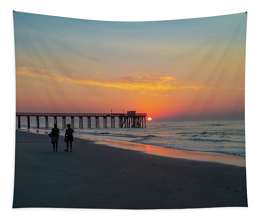 Walk Tapestry featuring the photograph A Walk At Sunrise - Avalon New Jersey by Bill Cannon