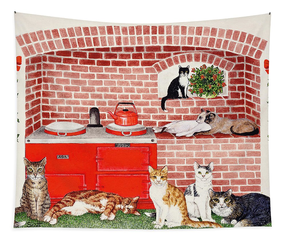 Cat Tapestry featuring the painting A Warm Place by Pat Scott