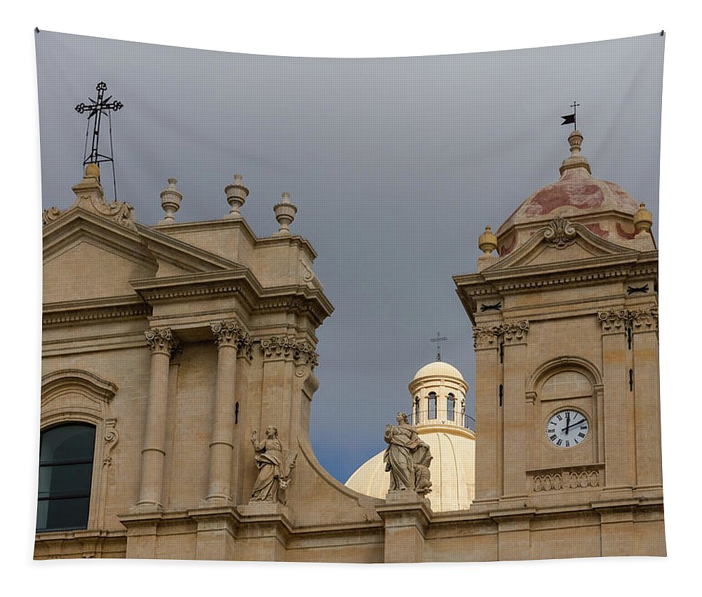 Georgia Mizuleva Tapestry featuring the photograph A Well Placed Ray Of Sunshine - Noto Cathedral Saint Nicholas Of Myra Against A Cloudy Sky by Georgia Mizuleva