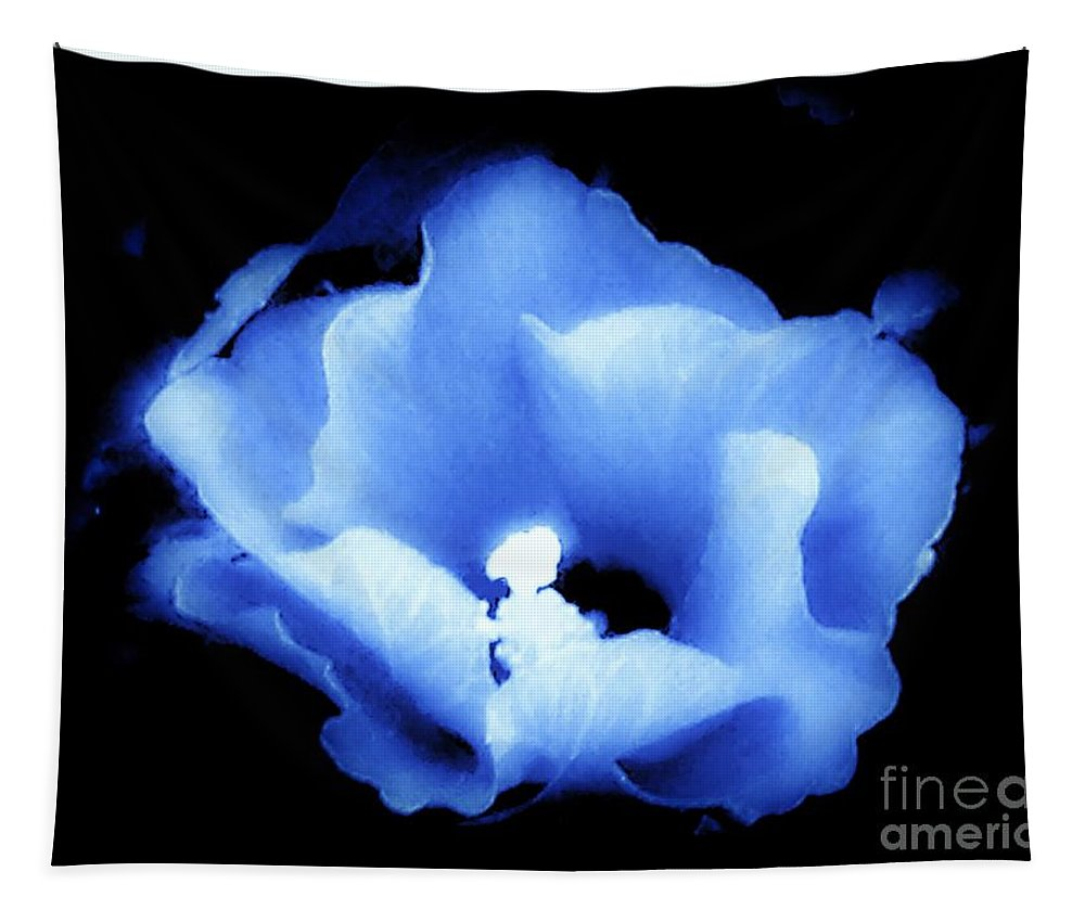 Floral Tapestry featuring the photograph A White Hibiscus Bloom With Blue Tinge On Black Background by Debra Lynch