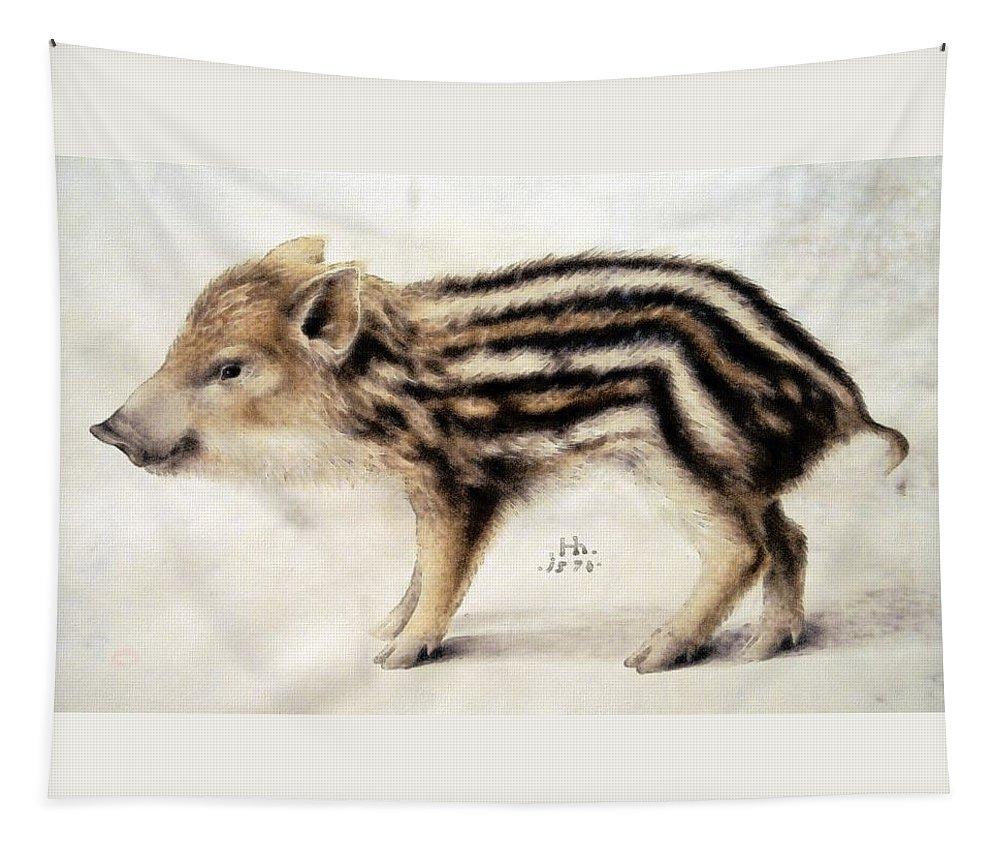 Hans Hoffmann Tapestry featuring the painting A Wild Boar Piglet by Hans Hoffmann