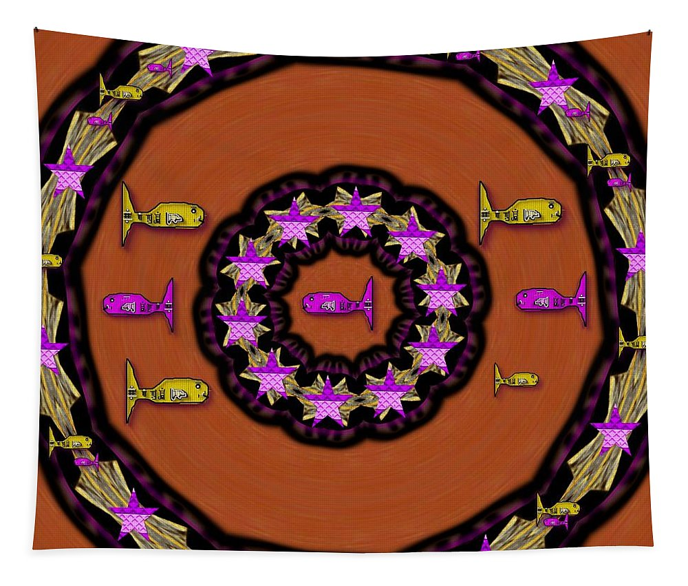 Fish Tapestry featuring the mixed media A Wish For A Fish Ocean Peace by Pepita Selles