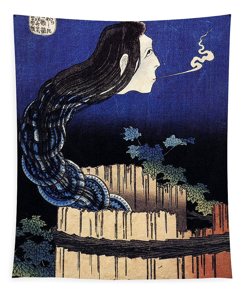 Katsushika Hokusai Tapestry featuring the painting A Woman Ghost Appeared From A Well by Katsushika Hokusai