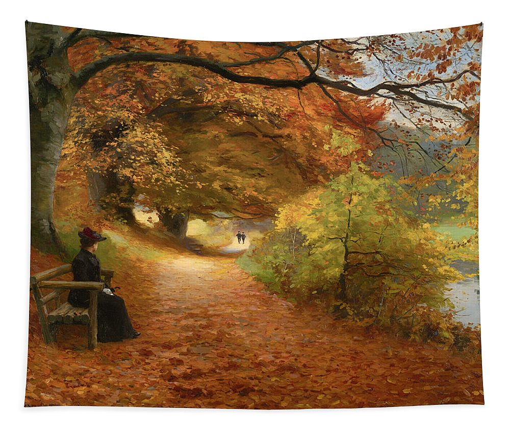 Painting Tapestry featuring the painting A Wooded Path In Autumn by Mountain Dreams