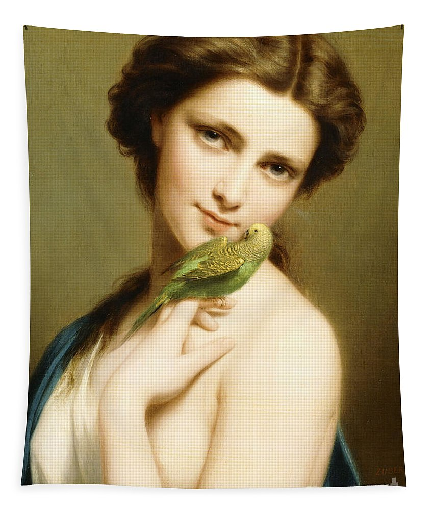 Bird Tapestry featuring the painting A Young Beauty With A Parakeet by Fritz Zuber-Buhler