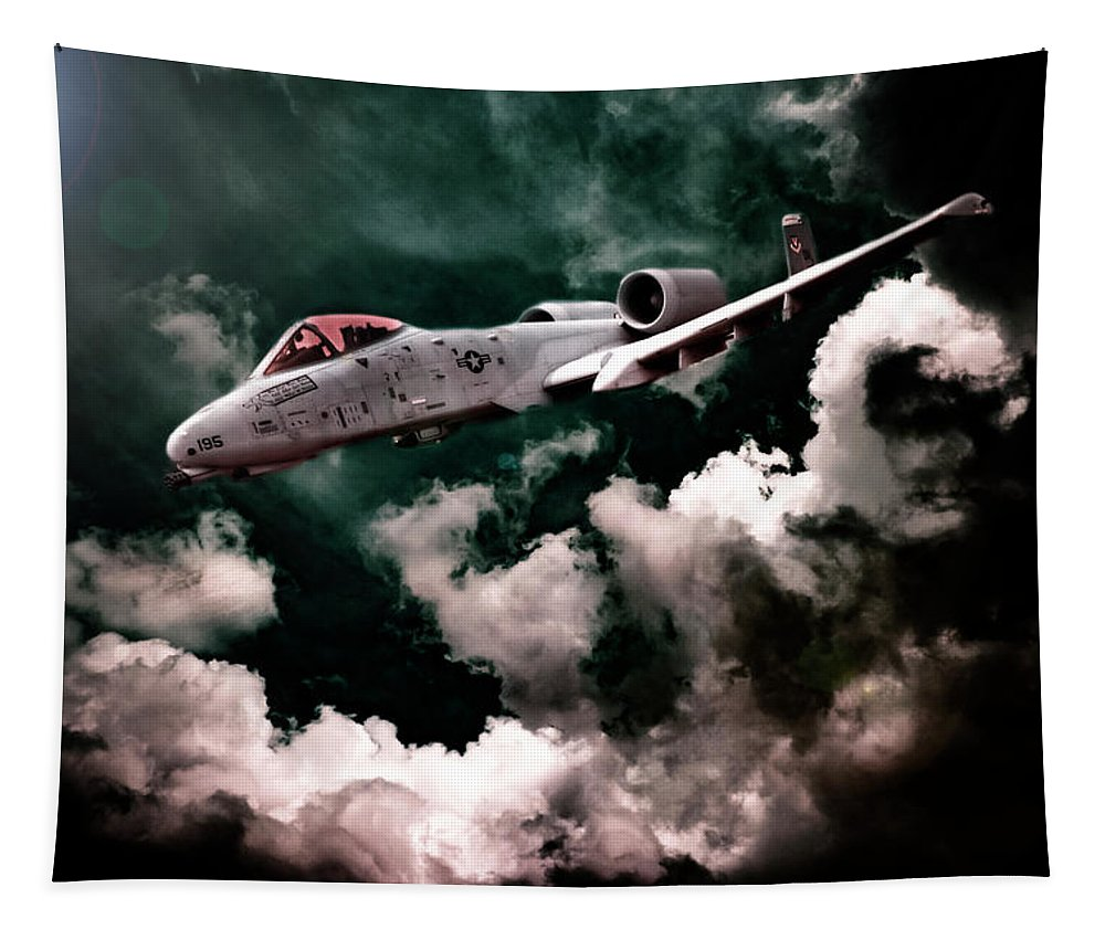Hdr Tapestry featuring the photograph A10 Thunderbolt In Flight by Robert Storost