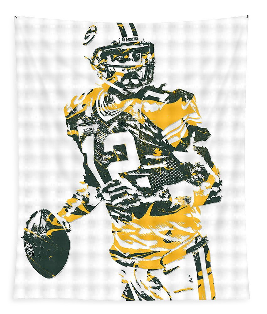 Aaron Rodgers Tapestry featuring the mixed media Aaron Rodgers Green Bay Packers Pixel Art 15 by Joe Hamilton