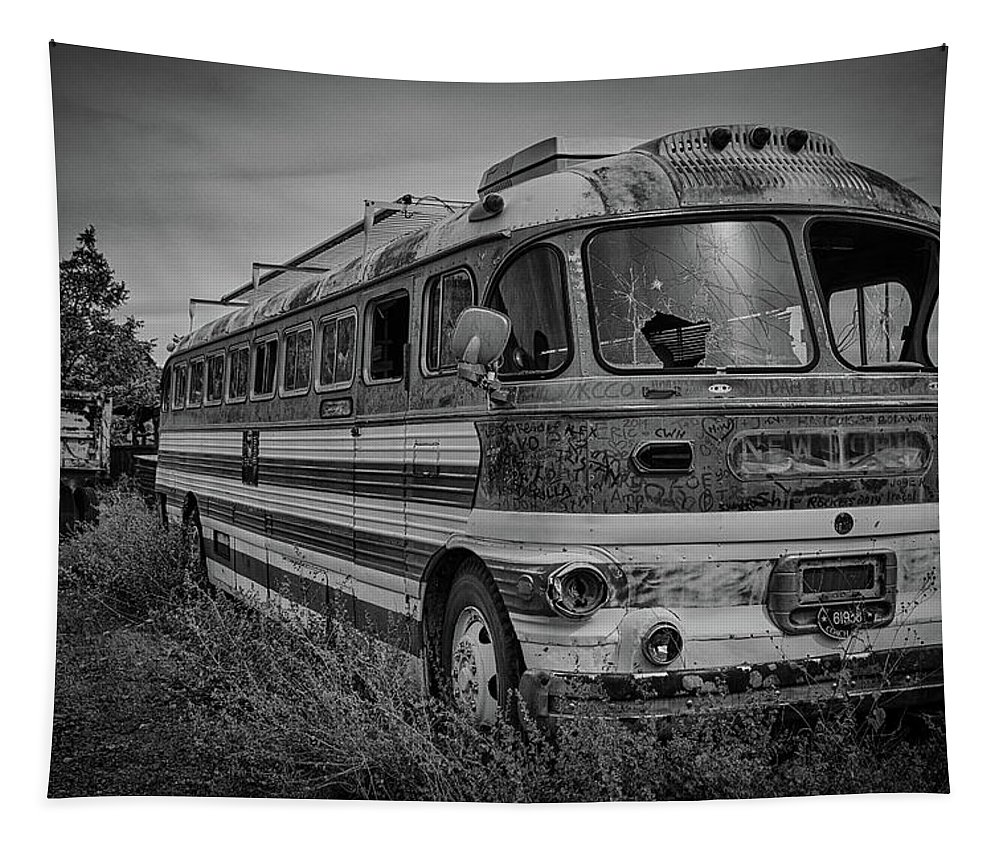 Abandoned Tapestry featuring the photograph Abandoned Bus by Charles Scrofano Jr