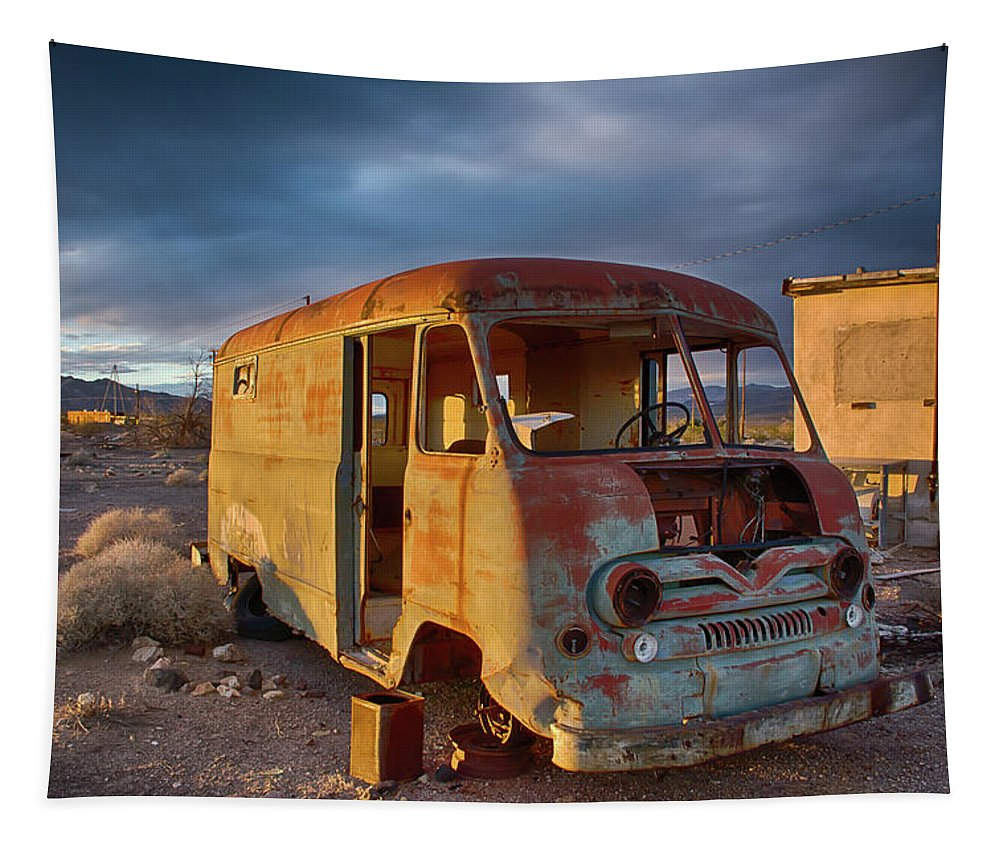 Abandoned Tapestry featuring the photograph Abandoned Van by Charles Scrofano Jr