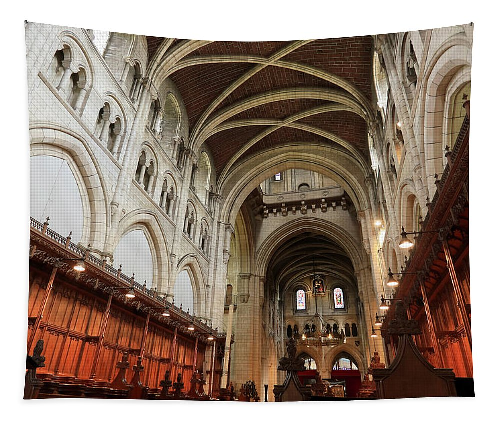England Tapestry featuring the photograph Abbey Church Of Saint Mary, Or Buckfast Abbey by Derrick Neill