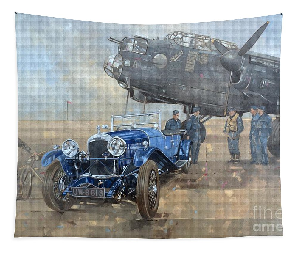 Car; Vehicle; Airplane; Aeroplane; Plane; Military; Air Force; Vintage; Classic Cars; Vintage Car; Nostalgia; Nostalgic; Blue Lagonda Tapestry featuring the painting Able Mable And The Blue Lagonda by Peter Miller