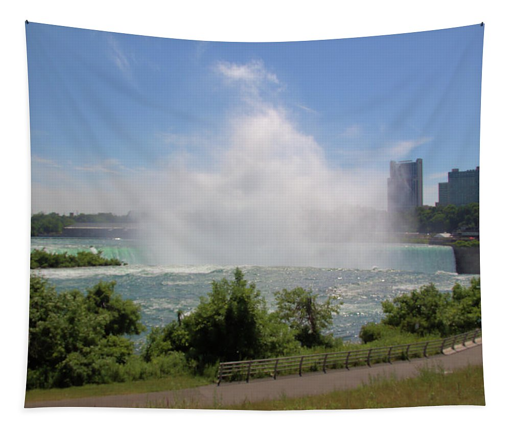 Horseshoe Falls Niagara Falls Ny Architecture Beauty In Nature Building Exterior Built Structure City Cloud - Sky Day Environment Landscape Motion Nature No People Office Building Exterior Outdoors Plant Power In Nature Scenics - Nature Sky Skyscraper Spraying Travel Destinations Tree Water — In Niagara Falls Tapestry featuring the photograph Above The Falls 3 by Robert McCulloch