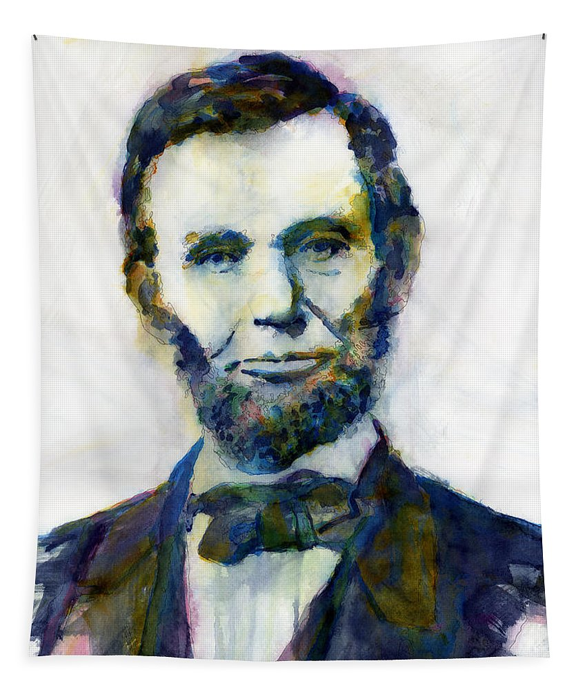 Abraham Tapestry featuring the painting Abraham Lincoln Portrait Study 2 by Hailey E Herrera