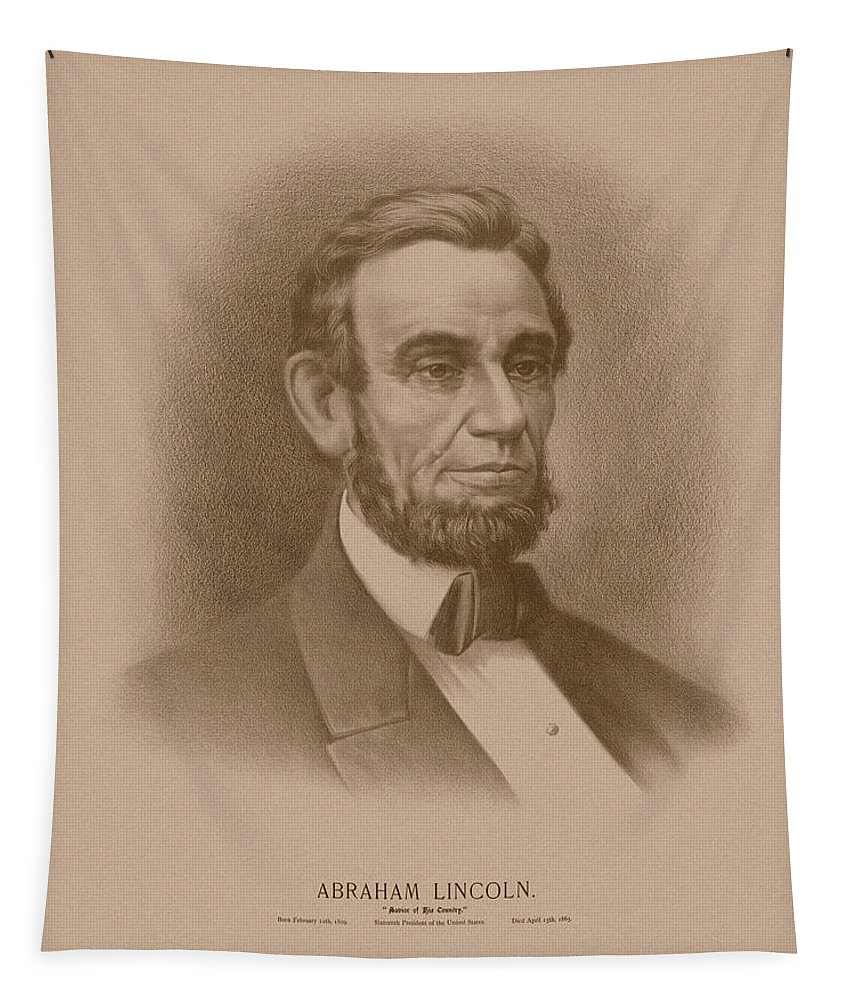 Abraham Lincoln Tapestry featuring the drawing Abraham Lincoln - Savior Of His Country by War Is Hell Store