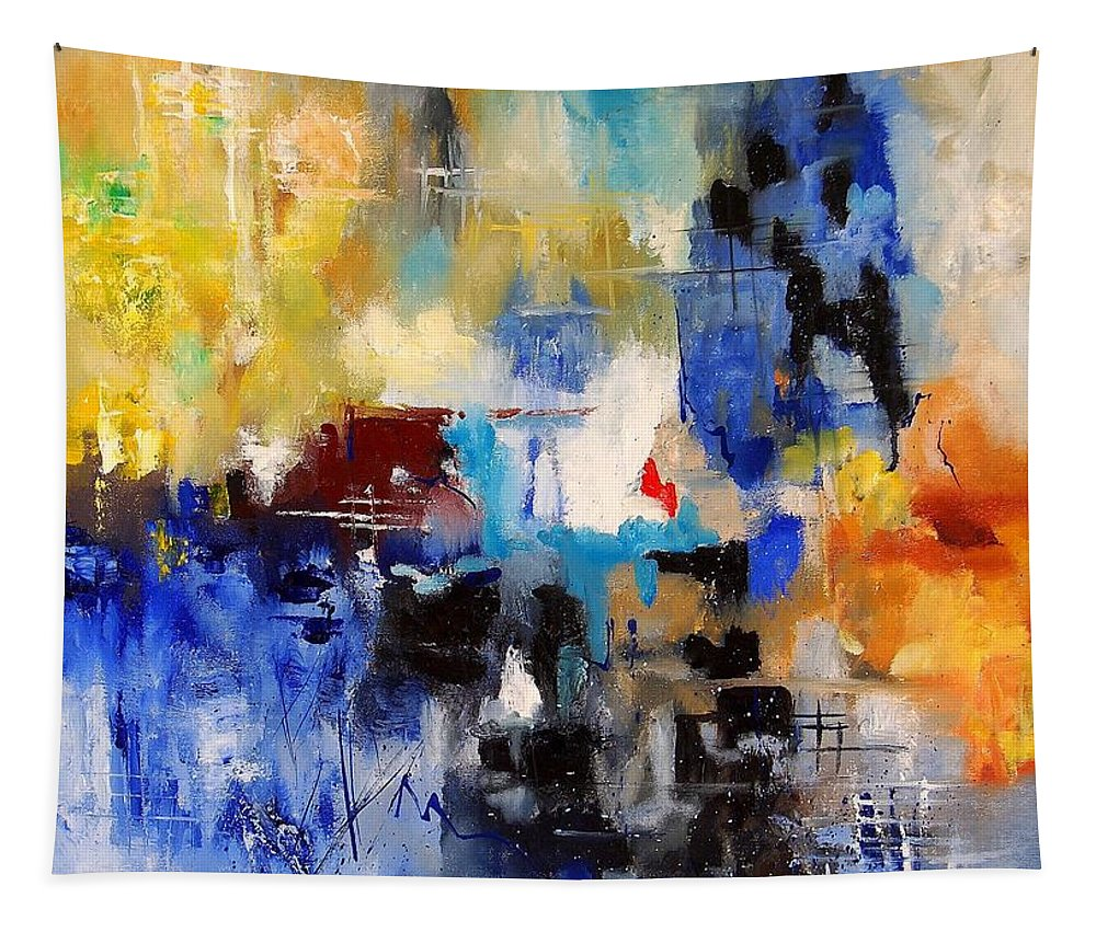Abstract Tapestry featuring the painting Abstract 69070 by Pol Ledent