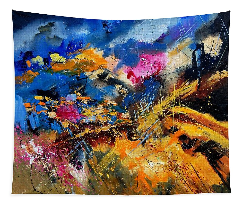 Abstract Tapestry featuring the painting Abstract 7808082 by Pol Ledent