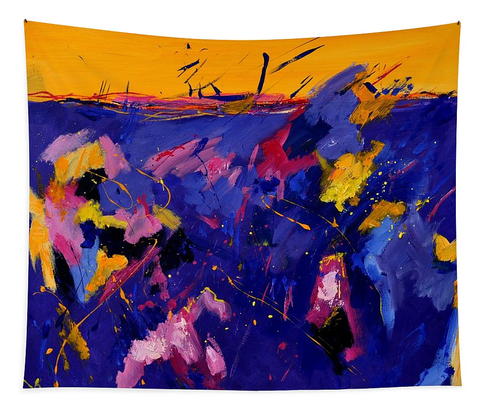 Abstract Tapestry featuring the painting Abstract 880160 by Pol Ledent