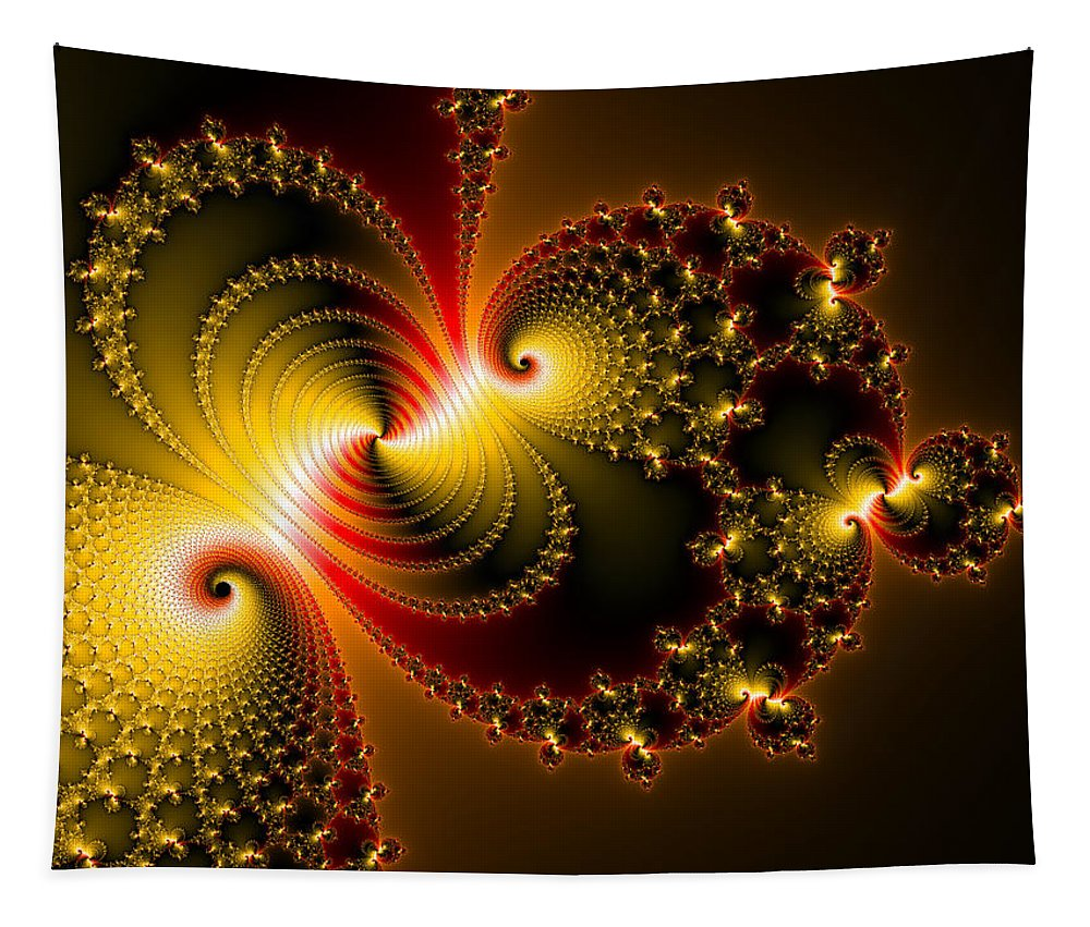 Yellow Tapestry featuring the digital art Abstract Art Yellow Golden Red Metal Effect by Matthias Hauser