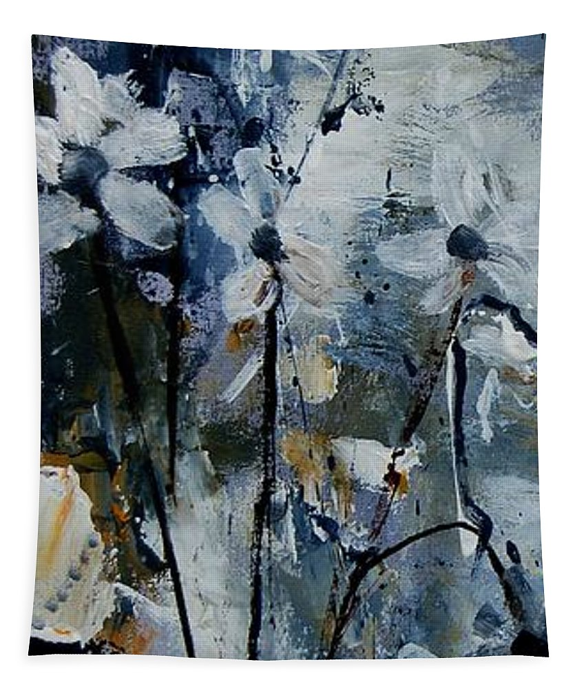 Abstract Tapestry featuring the painting Abstract Bunch Of Flowers by Pol Ledent