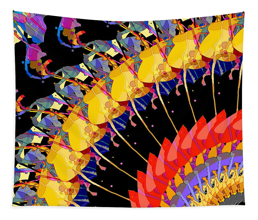 Digital Art Tapestry featuring the digital art Abstract Collage Of Colors by Phil Perkins