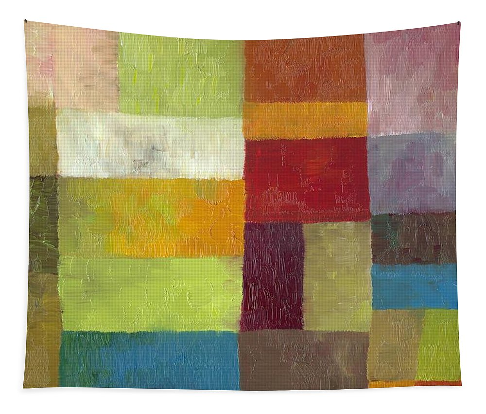 Abstract Tapestry featuring the painting Abstract Color Study Lv by Michelle Calkins