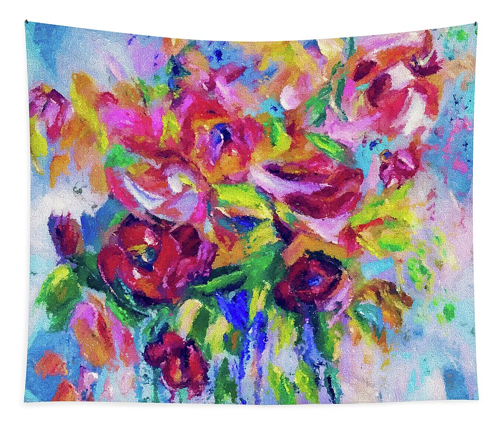 Tapestry featuring the digital art Abstract Colorful Flowers by OLena Art Brand