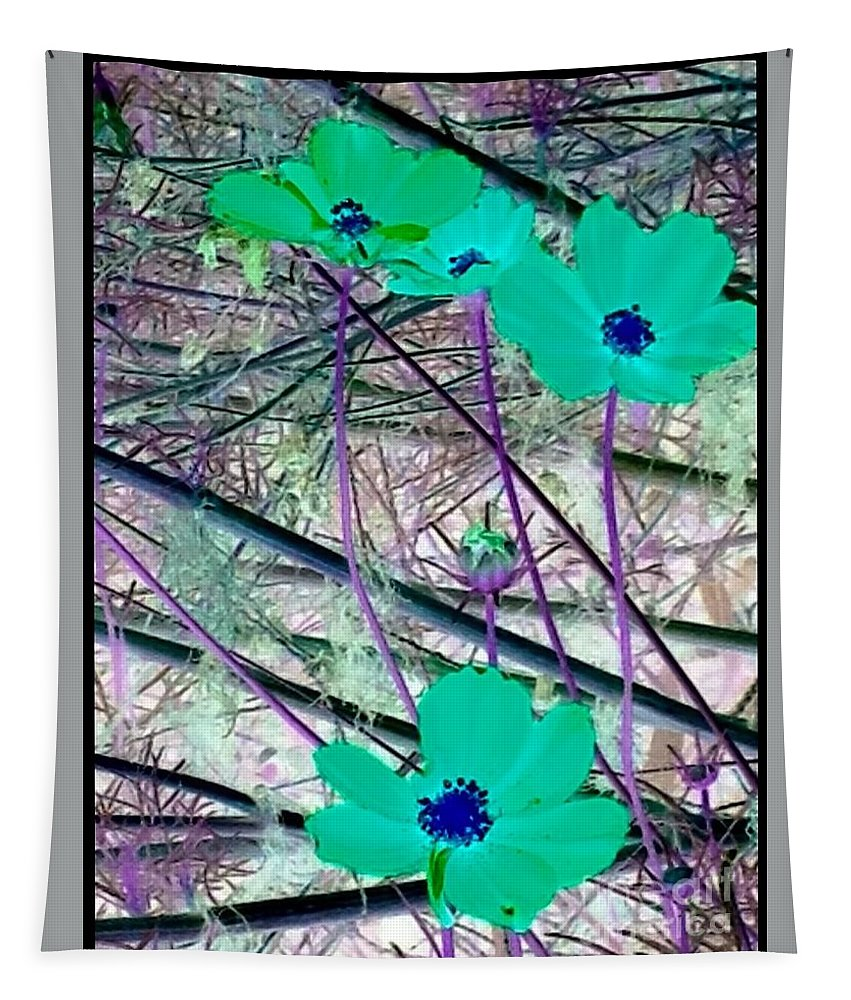 Flowers Tapestry featuring the photograph Abstract Flowrs In Green And Blue by Debra Lynch