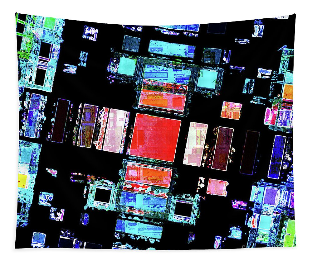 Abstract Tapestry featuring the digital art Abstract Geometric Art by Phil Perkins
