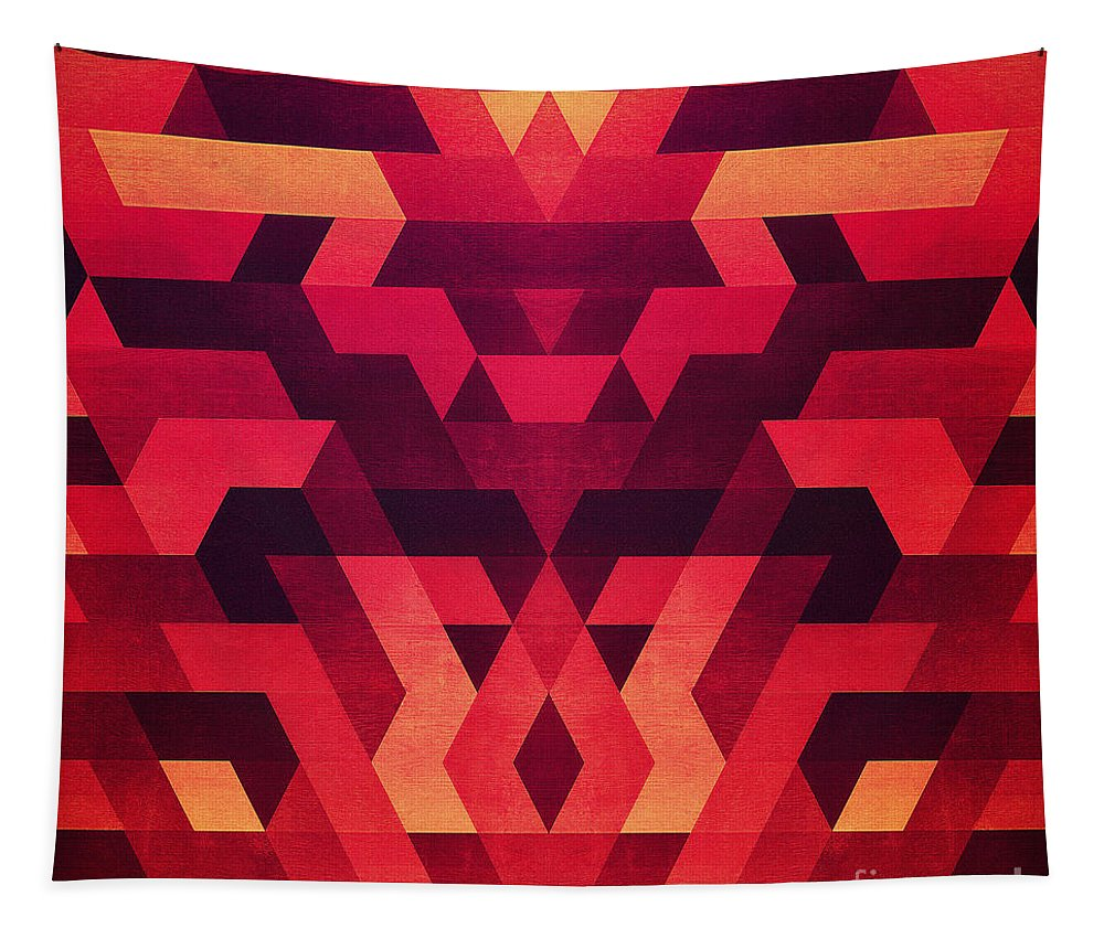 Red Tapestry featuring the digital art Abstract Geometric Triangle Texture Pattern Design In Diabolic Future Red by Philipp Rietz