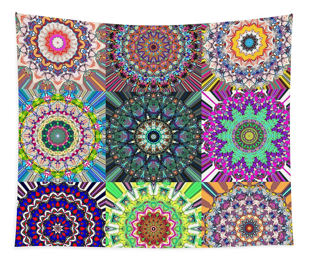 Mandala Tapestry featuring the digital art Abstract Mandala Collage by Phil Perkins