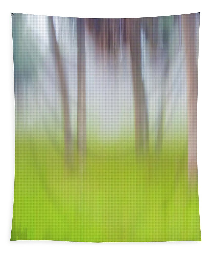 Moving Tapestry featuring the photograph Abstract Moving Trees #1 Background by Gene Norris