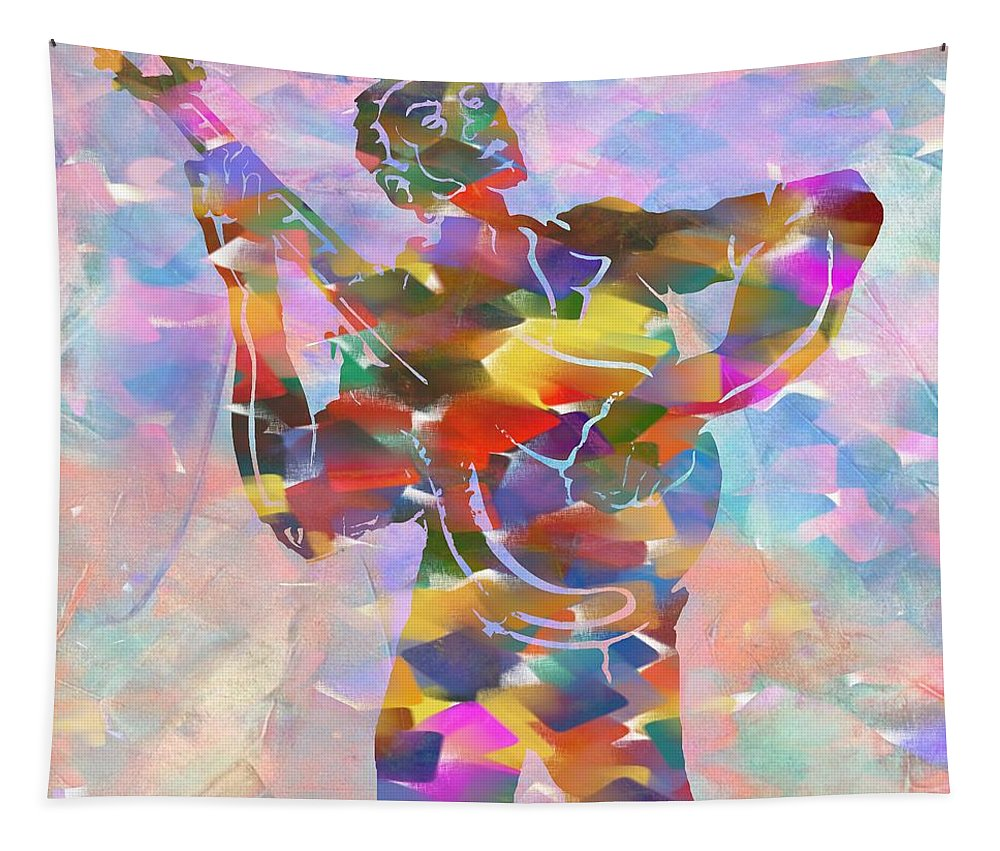 Abstract Musician Guitarist Tapestry featuring the painting Abstract Musican Guitarist by Dan Sproul